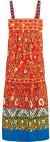 Tory Burch Dayton Embroidered Printed Cotton-blend Midi Dress - Orange
