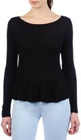 AG Jeans The Long Sleeve Peplum Top - Black