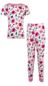 Touched by Nature Toddler Girls and Boys Garden Floral Tight-Fit Pajama Set, Pack of 2