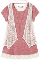Speechless Girls 7-16 Crochet Vest & Lace Hem Tee with Necklace