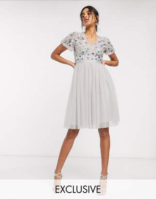 Needle & Thread embellished midi dress with tulle skirt in lilac grey