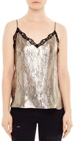 Sandro Shiny Lace-Trimmed Camisole Top