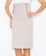 Beige Button-Accent Pencil Skirt