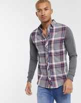 SikSilk shirt with jersey sleeves in grey check