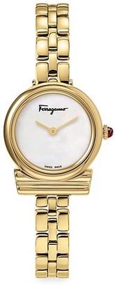 Salvatore Ferragamo Gancini Ever Green Yellow Goldplated Bracelet Strap Watch