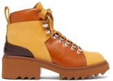 Chloé Bella Lug-sole Lace-up Leather Ankle Boots - Womens - Tan Multi