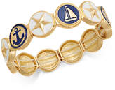 Charter Club Gold-Tone Nautical Theme Enamel Multi-Disc Stretch Bracelet, Created for Macy's