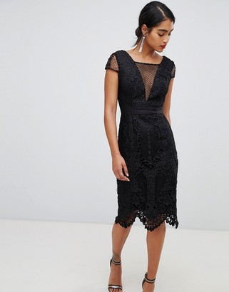 Chi Chi London lace pencil dress with v neck in black