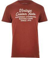 River Island MensRed Jack & Jones Vintage print T-shirt