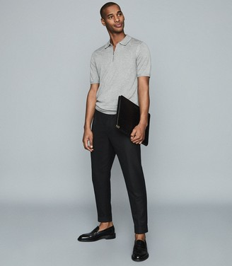 Reiss Sleeper - Knitted Zip Neck Polo Shirt in Grey