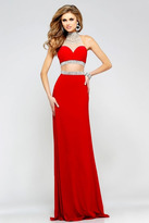Faviana Embellished Two Piece A-Line Gown in Red S7511