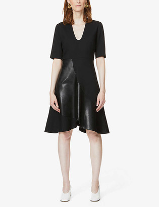 Stella McCartney Contrast-panel stretch-wool midi dress
