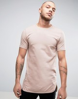 Asos Super Longline Muscle T-Shirt With Curved Step Hem In Beige