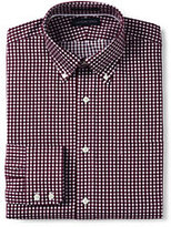 Classic Men's Tall Traditional Fit Pattern No Iron Buttondown Collar Royal Oxford Shirt-Calm Gray Glen Plaid