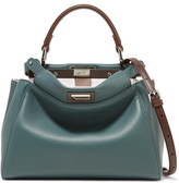 Fendi Peekaboo Mini Leather Shoulder Bag - Petrol
