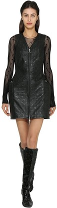 Marine Serre Zip-up Recycled Leather Mini Dress