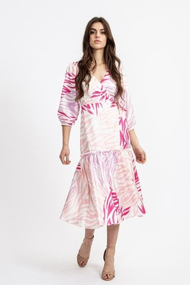 Liquorish Frill Midi Wrap Dress in Pink Zebra Print