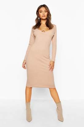 boohoo Rib V Bar Long Sleeve Midi Dress