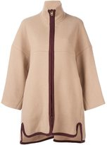 Chloé contrast zip coat - women - Cotton/Polyamide/Virgin Wool - 40