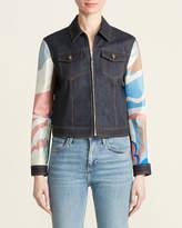 Emilio Pucci Denim With Multicolor Silk Sleeves Jacket
