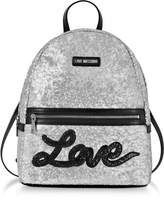 Love Moschino Love Sequins Metallic Silver Backpack