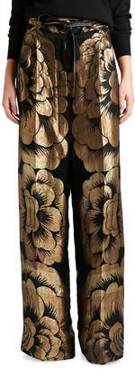 Tom Ford Metallic Full-Leg Pants with Leather Drawstring