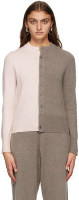 Extreme Cashmere Pink and Brown Cashmere Little Game Cardigan