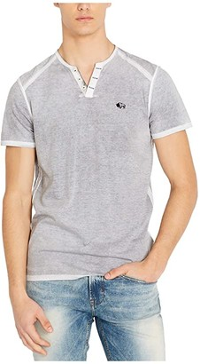 Buffalo David Bitton Karox Short Sleeve Split-Neck (Charcoal) Men's Clothing