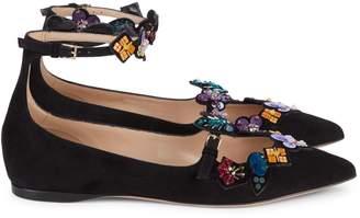 Valentino Garavani Sequin & Bead-Embellished Suede Flats