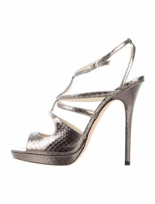 Jimmy Choo Snakeskin Animal Print Sandals Grey