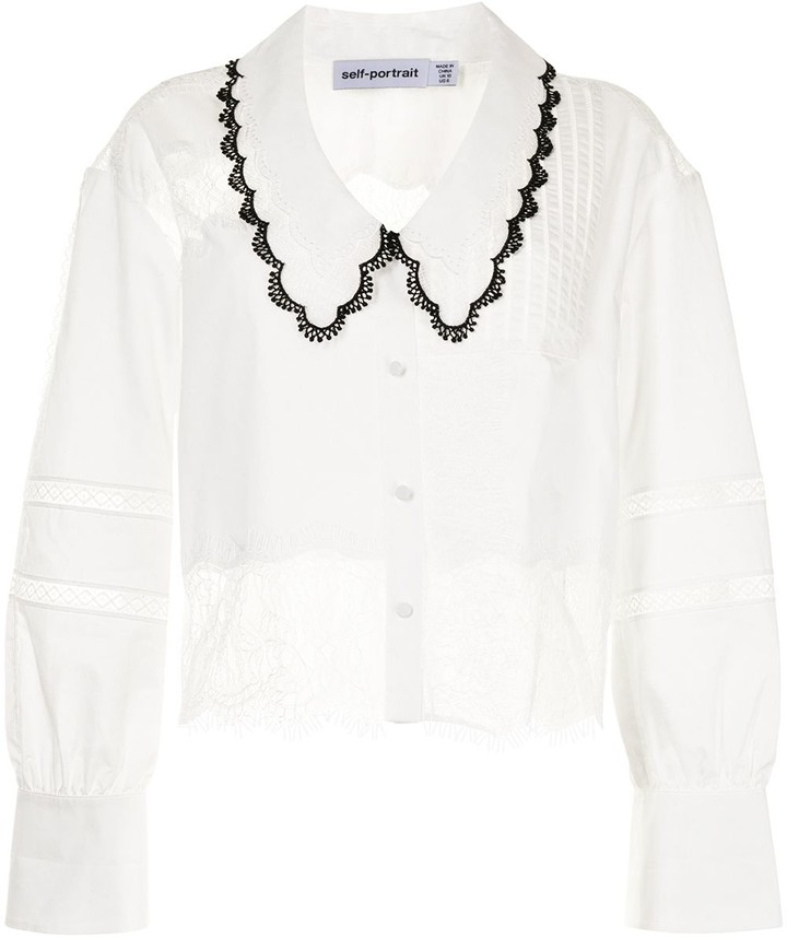 /& Lace Trimmed Layered Bertha Collar FRITZI Brand White Long Sleeves Vintage Lacey Layered Collar Blouse