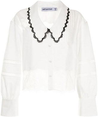 Self-Portrait Lace-Panel Pointed-Collar Shirt