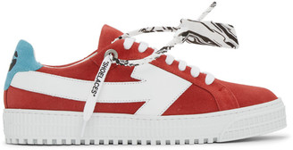 Off-White Red and White Suede Arrow Sneakers