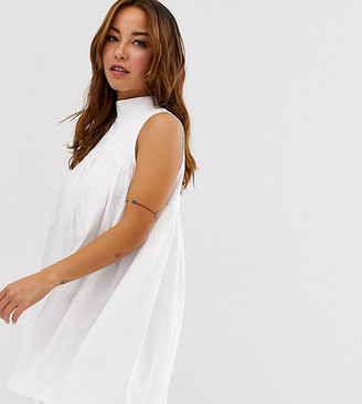 Asos DESIGN PETITE high neck mini sleeveless smock dress-White