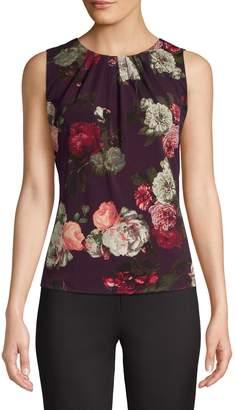 Calvin Klein Sleeveless Floral-Print Pleat Neck Tank