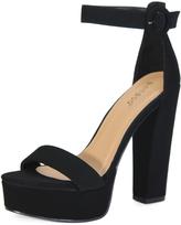 Bamboo Black Ankle-Strap Tournament Platform Sandal