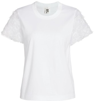 Noir Kei Ninomiya Cotton Tulle-Sleeve T-Shirt