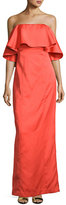 Zac Posen Janey Strapless Crepe Popover Gown, Red