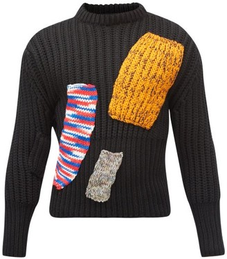 Raf Simons Aw14 Knitted-patchwork Wool-blend Sweater - Navy