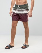 Asos Swim Shorts In Burgundy Stripe In Mid Length