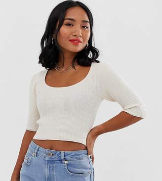 Asos DESIGN Petite scoop neck short sleeve sweater in fine knit rib-Cream