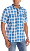 Izod Men's Short Sleeve Surfcaster Large Plaid Fishing Shirt
