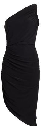 Halston One-Shoulder Ruched Jersey Dress