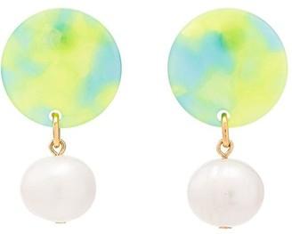Aym Green Andreia disc pearl earrings