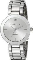Anne Klein Women's AK/1363SVSV Diamond Dial -Tone Bracelet Watch