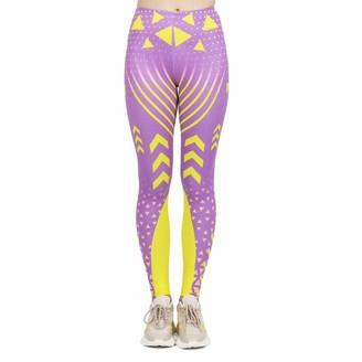Kukubird Printed Patterns Women's Yoga Leggings Gym Fitness Running Pilates Tights Skinny Pants Size 6-10 Stretchable-Pink Neon Sport