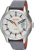 HUGO BOSS BOSS Orange Men's 'HONG KONG SPORT' Quartz Stainless Steel and Nylon Casual Watch, Color:Grey (Model: 1550015)