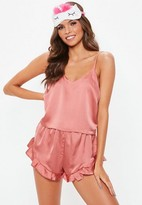 Missguided Cropped Cami Pj Set Pink, Pink