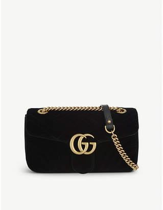 Gucci Ladies Black Marmont Velvet Shoulder Bag