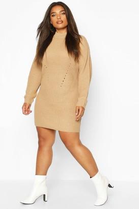 boohoo Plus Rib Knit Jumper Dress